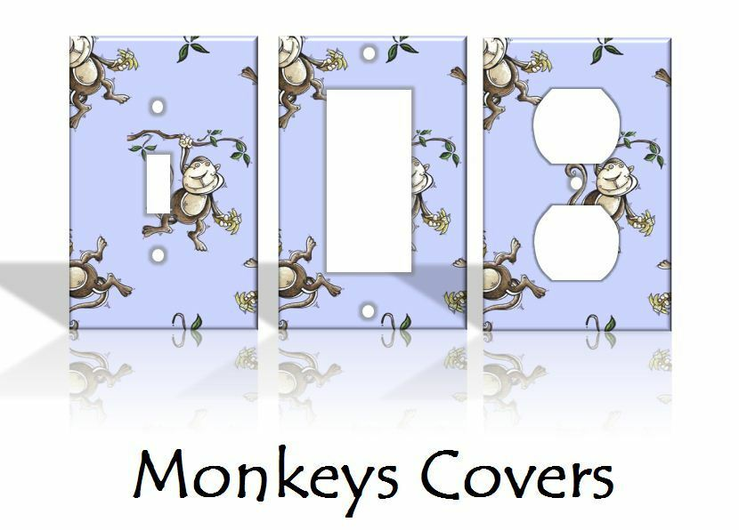 Nursery Monkeys Blue Bedroom Light Switch Covers Home