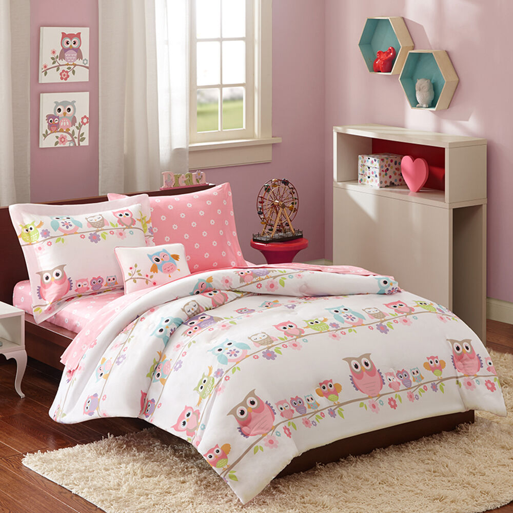 beautiful pink blue purple polka dot girls bed in bag soft comforter sheet set ebay. Black Bedroom Furniture Sets. Home Design Ideas