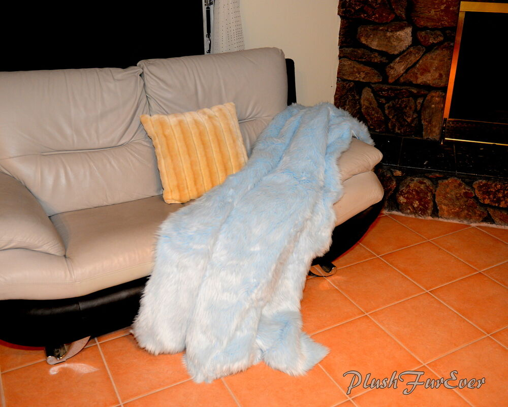 Baby blue shaggy throw blanket comforters 60 72 84 faux for Fur throws for sofas