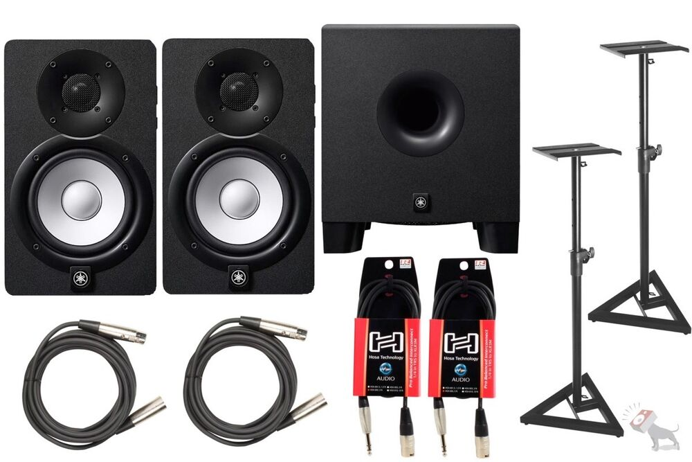 yamaha hs8 powered studio speaker monitor pair hs8s subwoofer w stands cables ebay. Black Bedroom Furniture Sets. Home Design Ideas