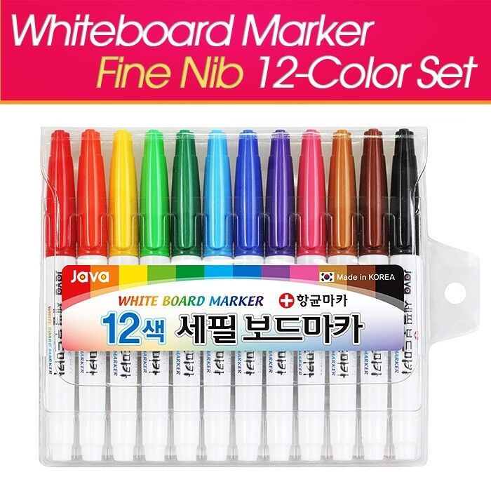 white board marker pen 12 color set dry erase marker fine nib java korea ebay. Black Bedroom Furniture Sets. Home Design Ideas