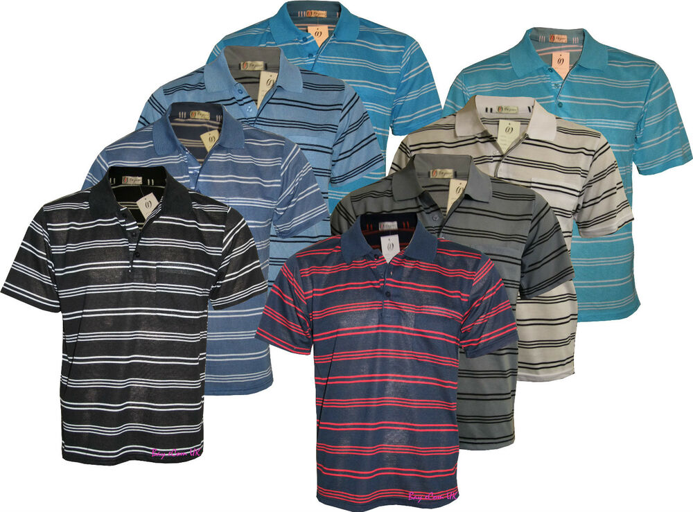 Men 39 s boys striped t shirts pique polo with pocket poly for Boys pocket t shirt