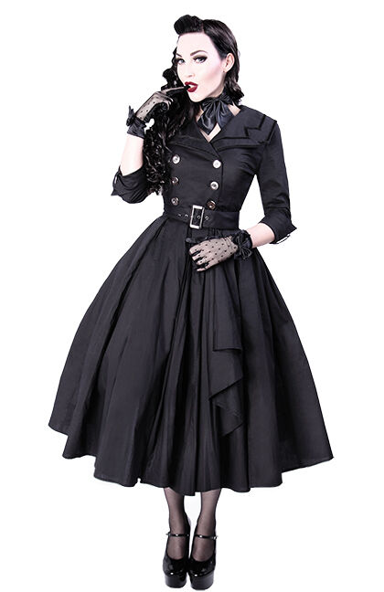 restyle kleid mantel vintage gothic rockabilly trenchcoat. Black Bedroom Furniture Sets. Home Design Ideas