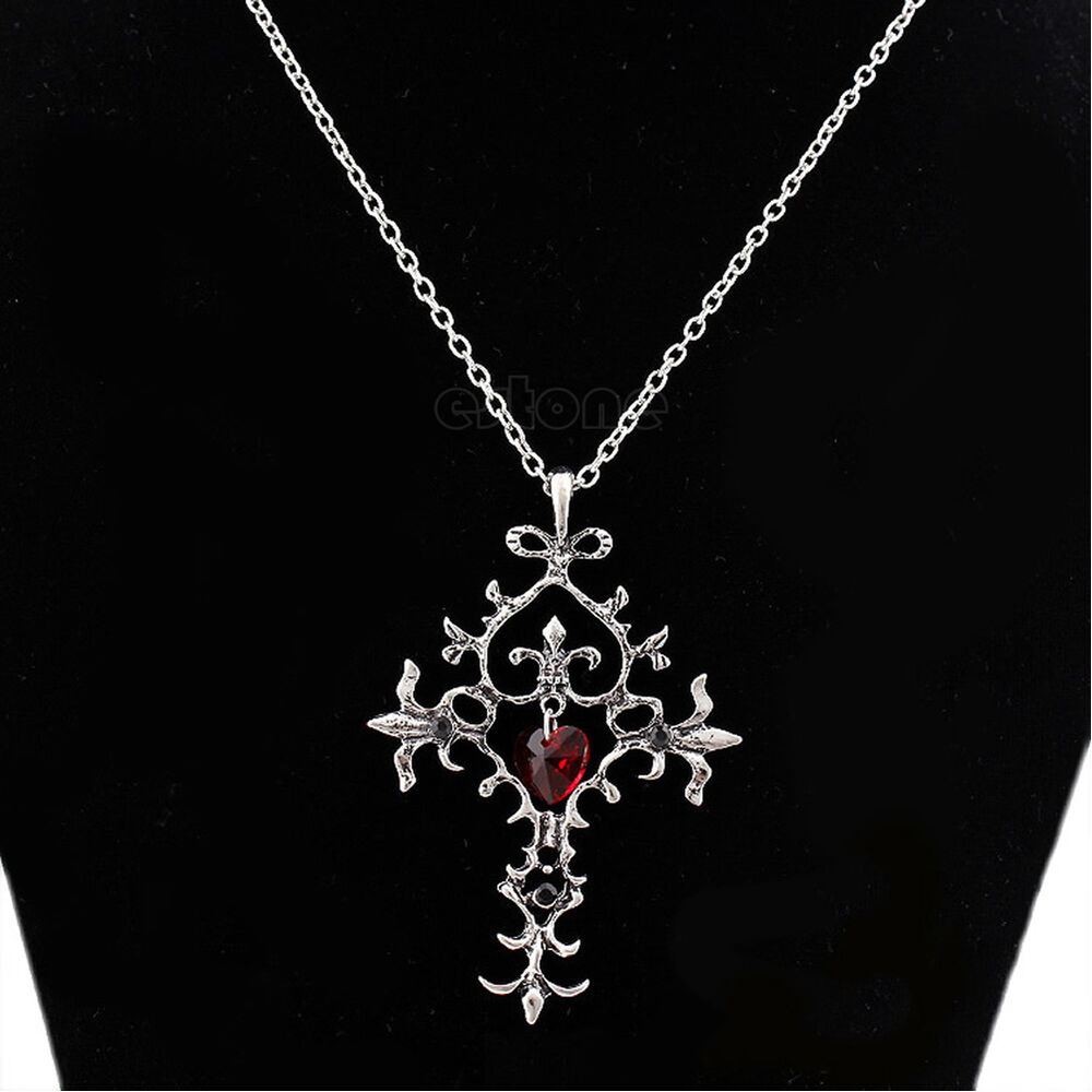 Vintage Red Sacred Heart Crystal Memorial Cross Necklace