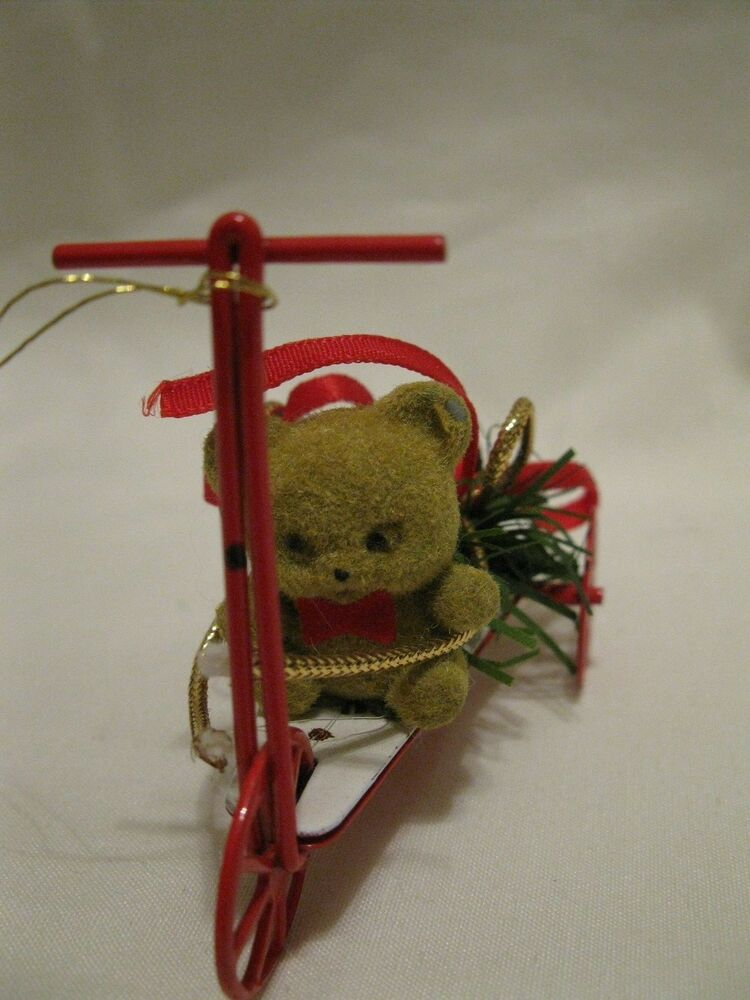 1987 Enesco Imports Corp. Bear On A Red Metal Trike ...