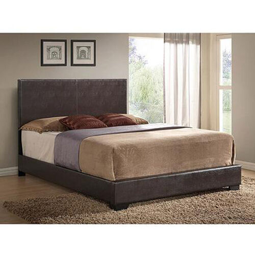 Modern Bed Faux Leather Bed Frame Upholstered W Headboard Full Queen