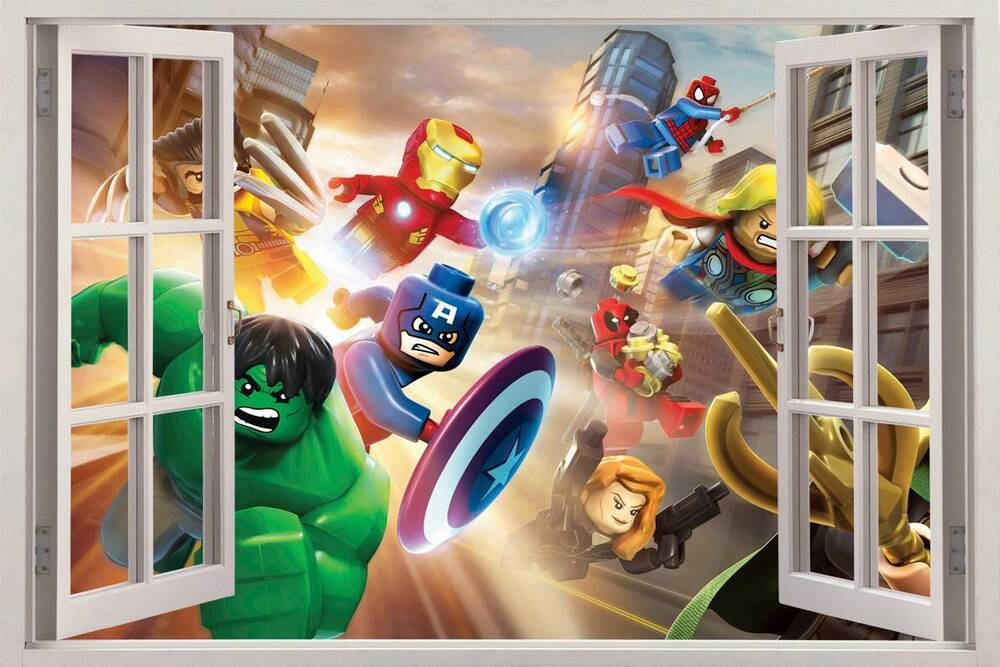 lego marvel super heroes 3d window view decal wall sticker superhero children s mural by muralswithoutborders on