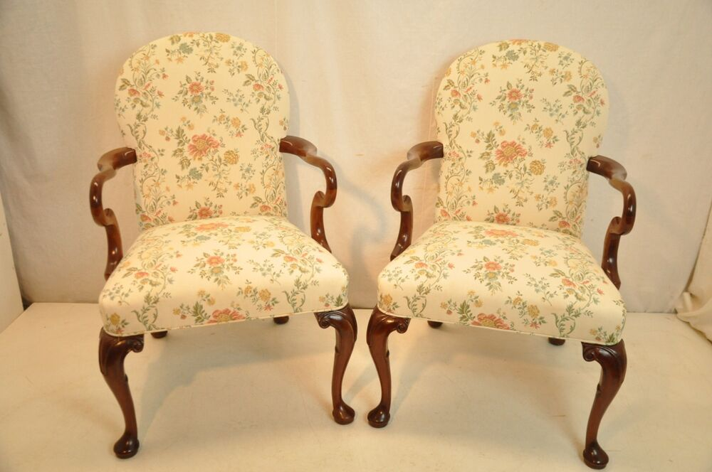 Elegant Pair of Queen Anne Mahogany Arm Chairs New ...