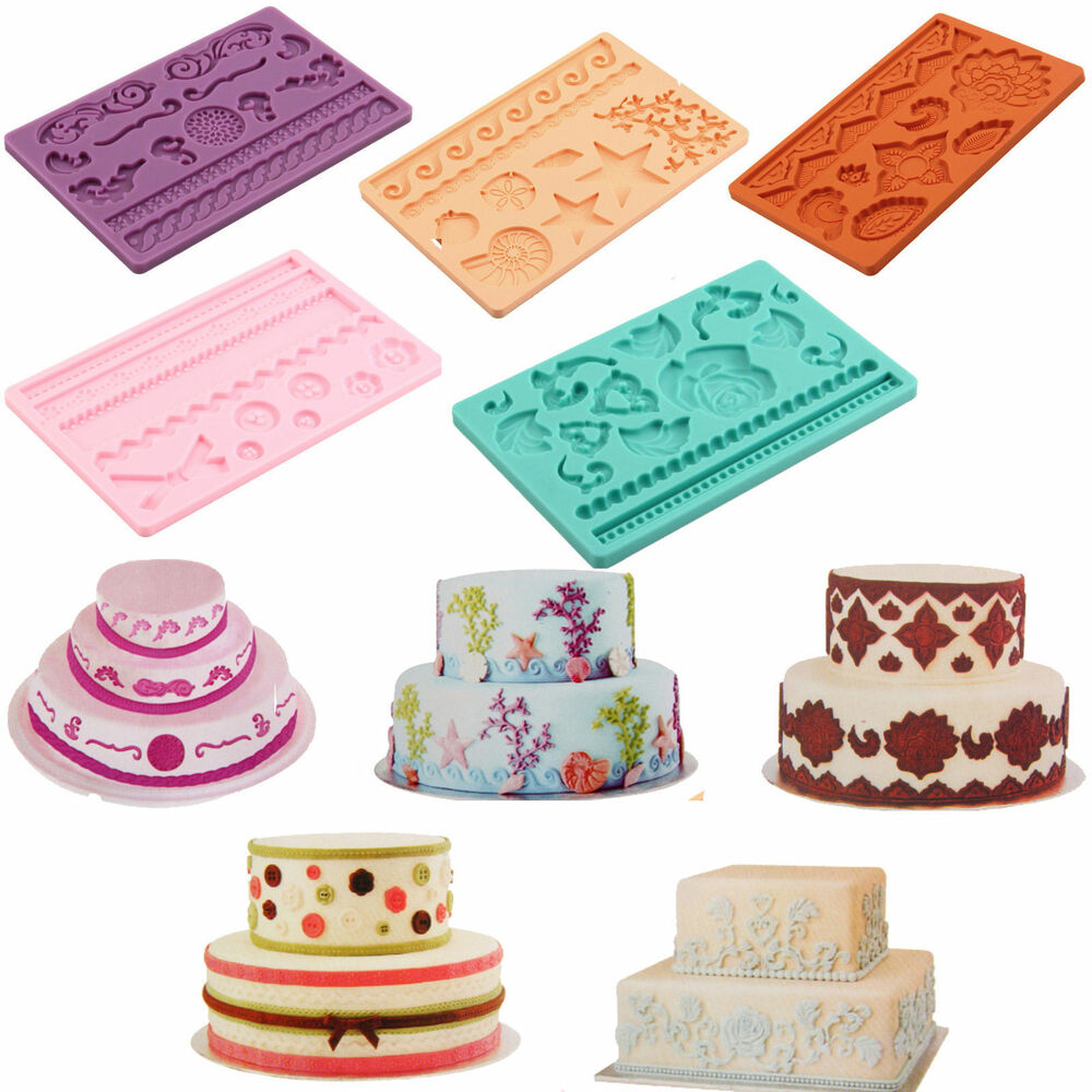 wedding cake icing moulds lot styles silicone fondant cake embossing gum paste 22874