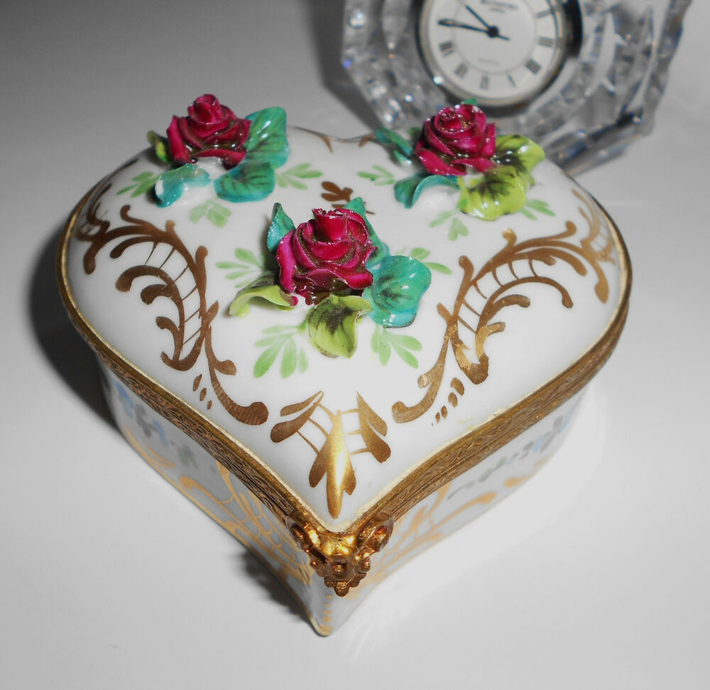 Signed Calvaire Expensive Jewelry Casket Box Heart
