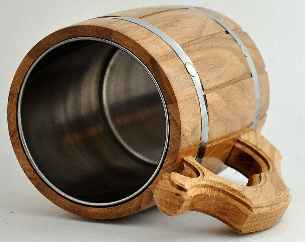 Wooden Beer Mug 0 65 L 22oz Natural Wood Groomsmen