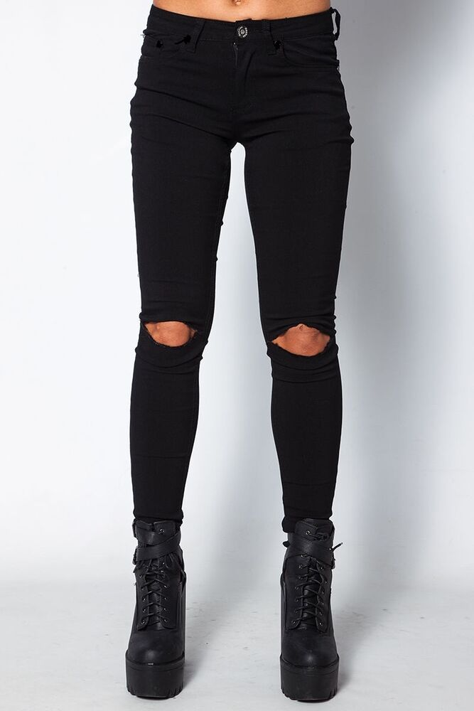 New Womens Skinny Fit Knee Ripped Black Low Rise Jeans Trousers Pants leggings | eBay