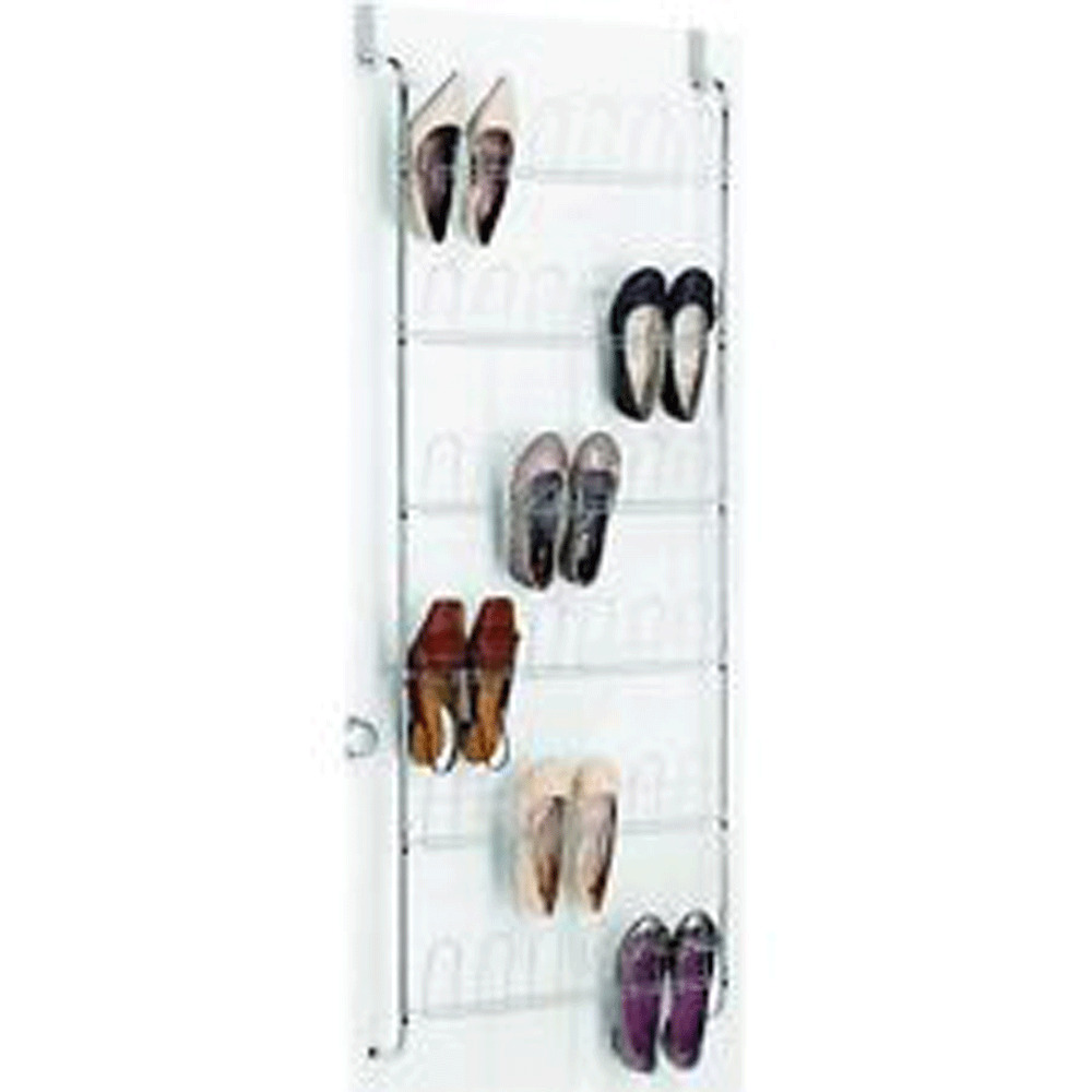 Details About Metal Over The Door White 18 Pairs Shoe Rack Closet Organizer