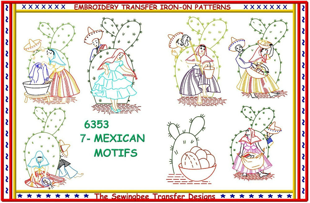 Mexican motifs with cactus embroidery transfer iron on