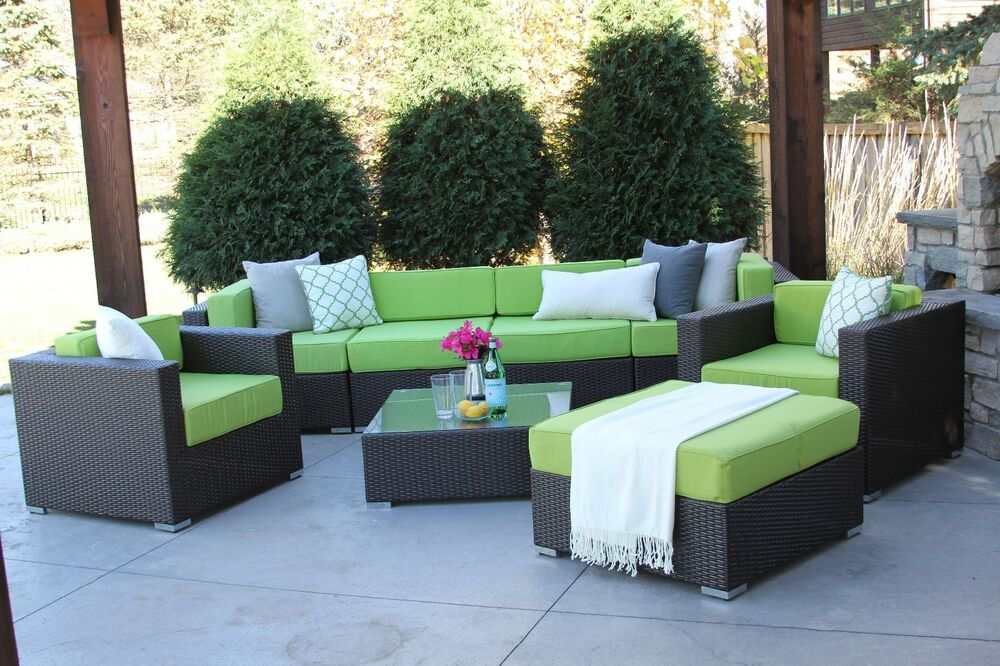 8 pc modern rattan patio set outdoor all weather sectional for All weather outdoor furniture