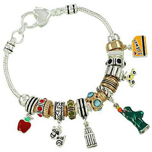 New Charm Bracelets: New York City NYC Theme Charm Bracelet Metallics Beads