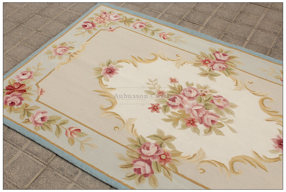 3x5 Pastel Blue Ivory French Aubusson Area Rug Shabby Pink