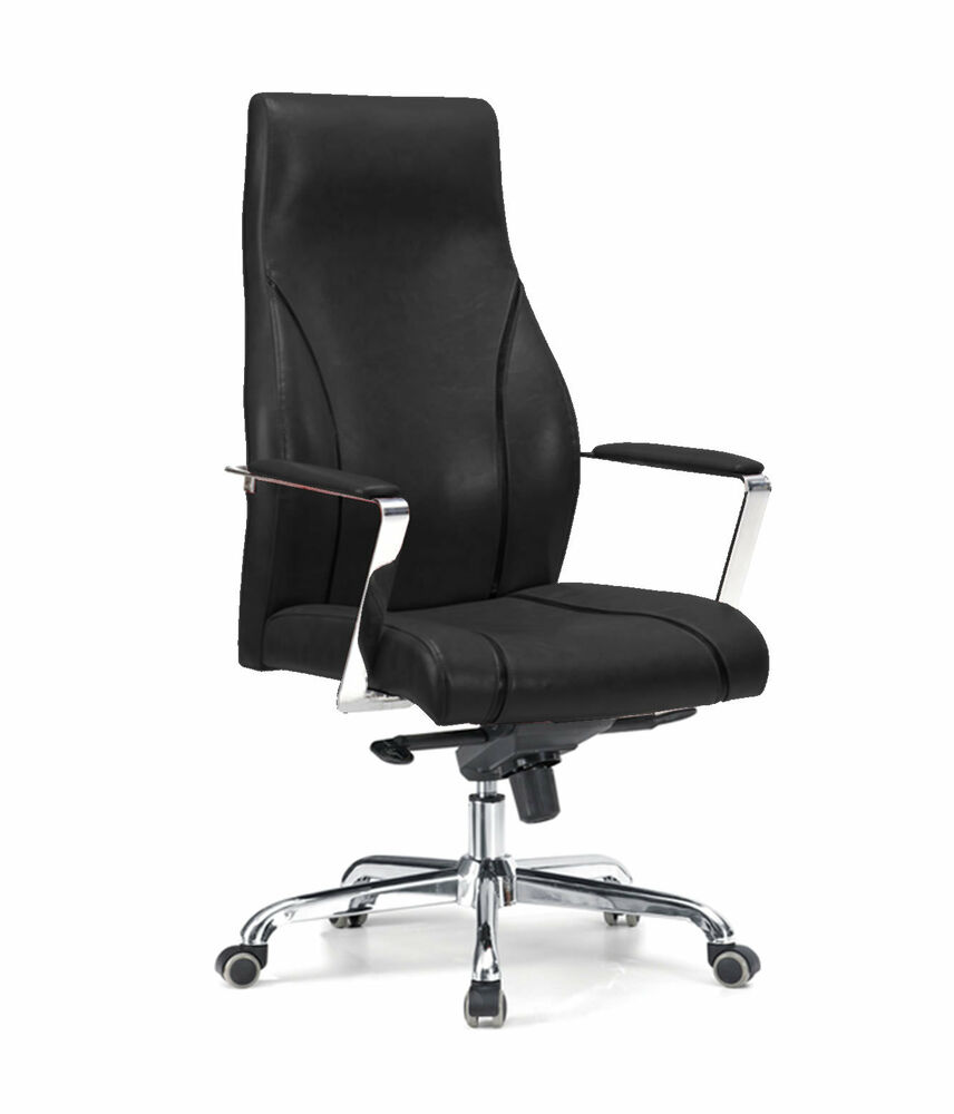 leather executive office chair chrome metal swivel base armrests