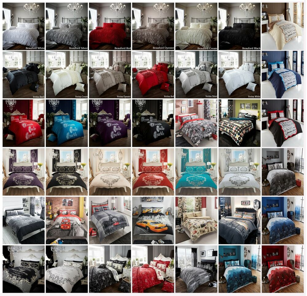 New duvet quilt cover with pillowcases bedding set matching curtains
