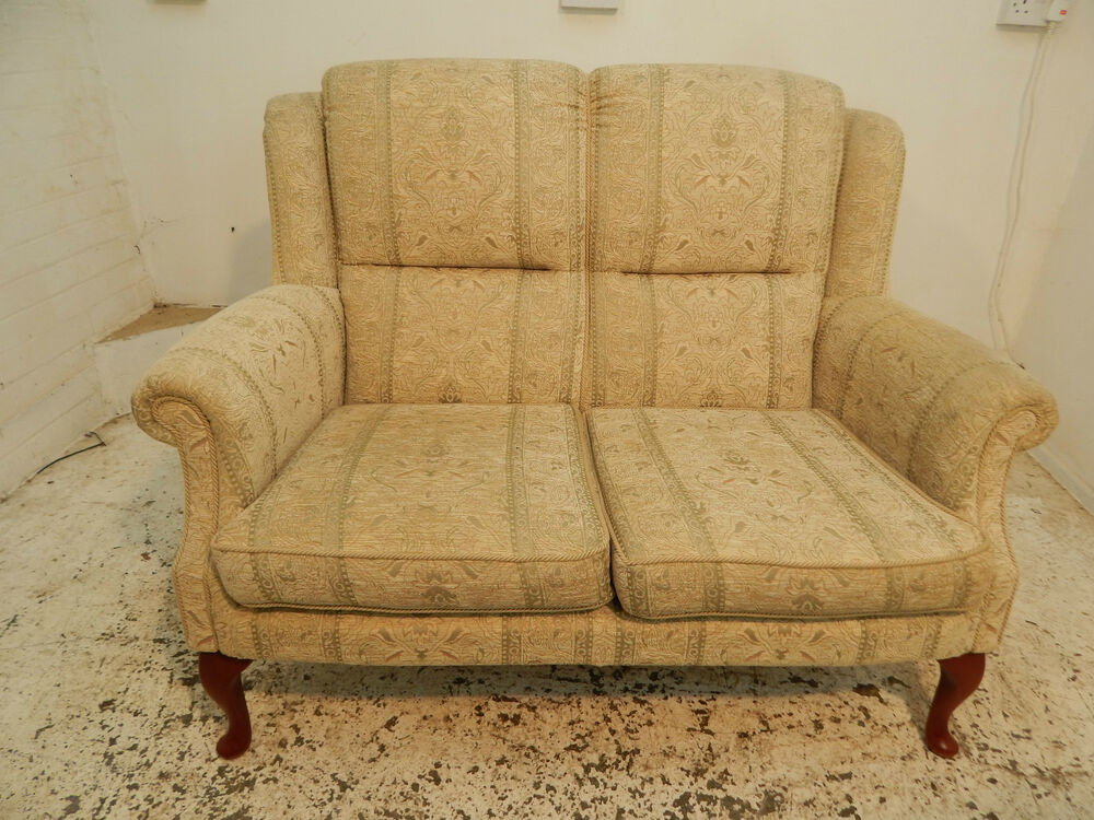 2 Seat Cottage Wing Back Sofa High Back Cabriole Legs Wood