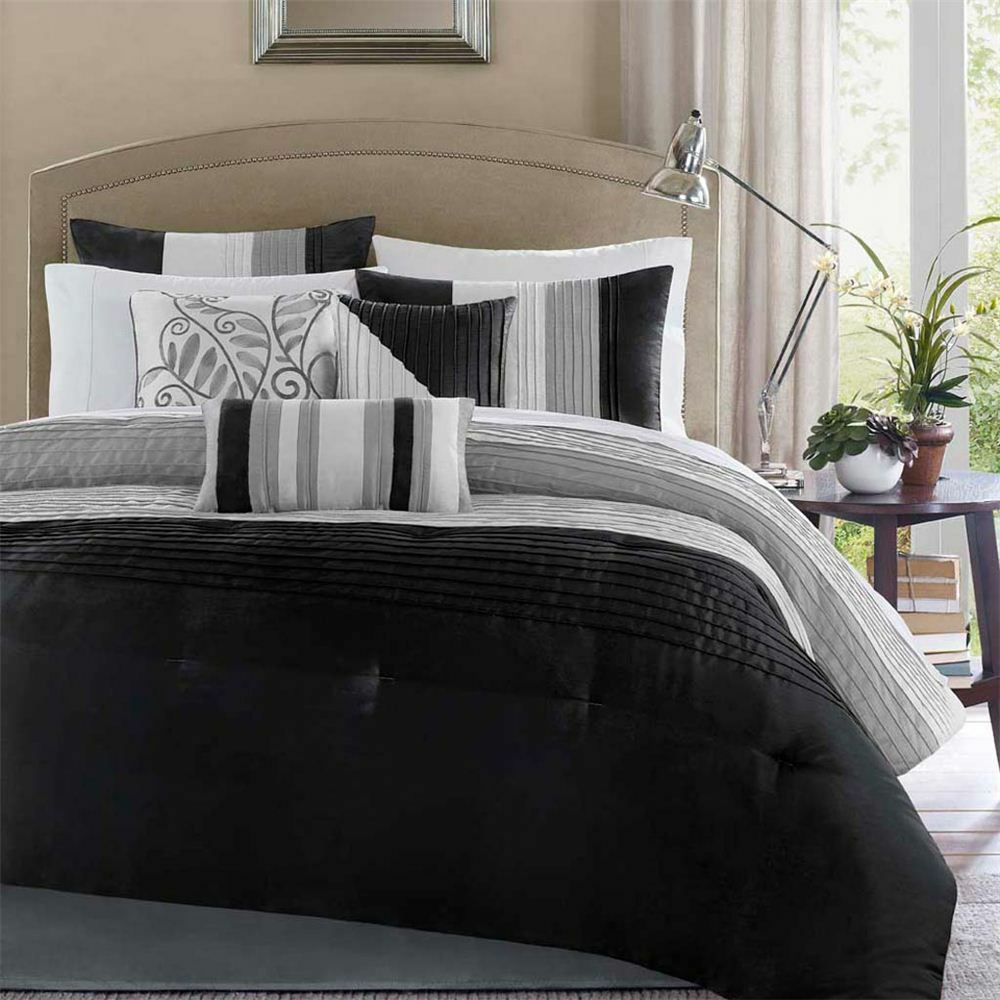 Beautiful modern elegant black grey silver stripe texture comforter