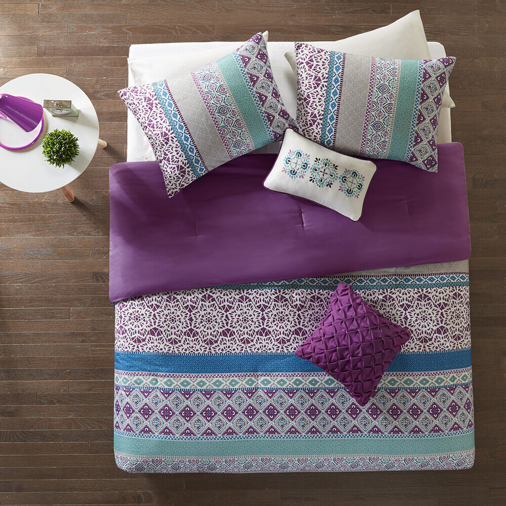 Beautiful chic purple grey ruffled global exotic modern for Bedding violet