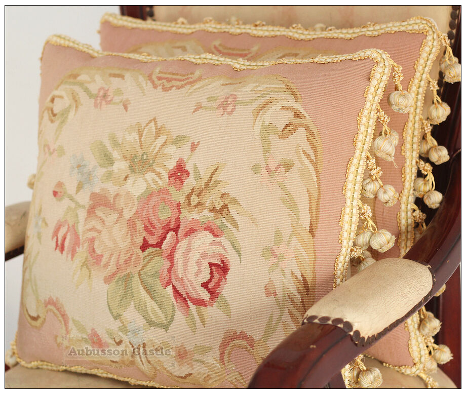 Shabby Chic Bed Pillows : A Pair PINK QUEEN Aubusson Pillow Shabby French Chic Rose Chair Bed Sofa Cushion eBay