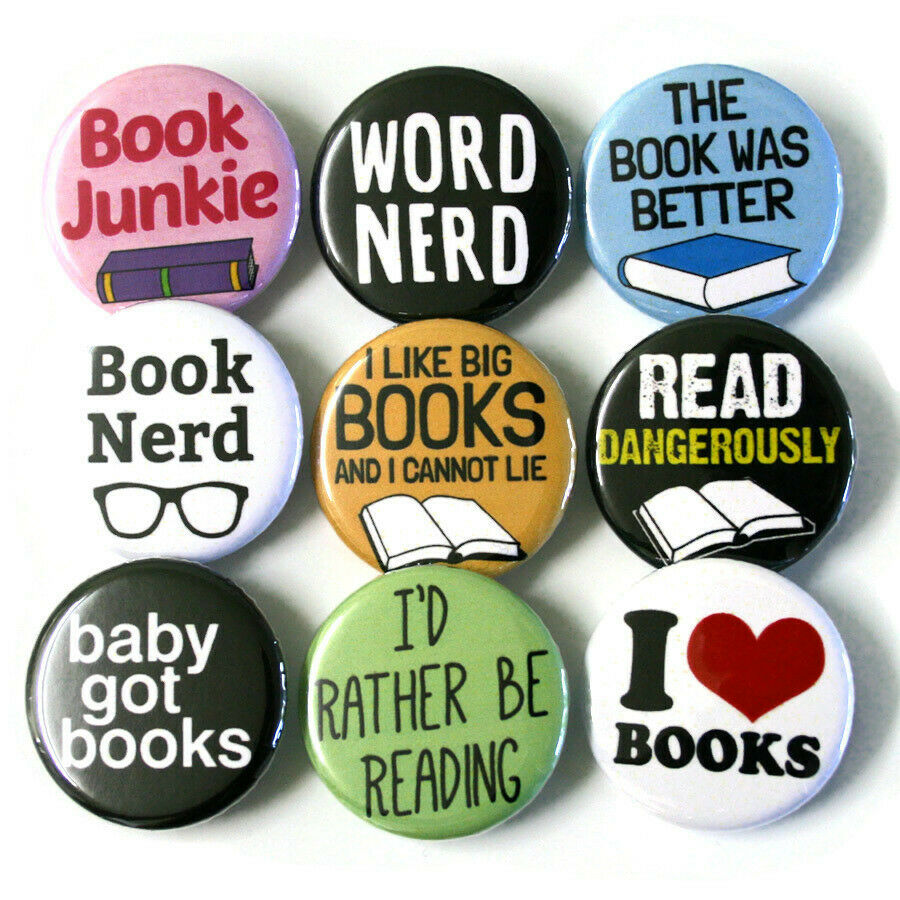 book nerd bookworm badges buttons pins x 9 size 32mm. Black Bedroom Furniture Sets. Home Design Ideas