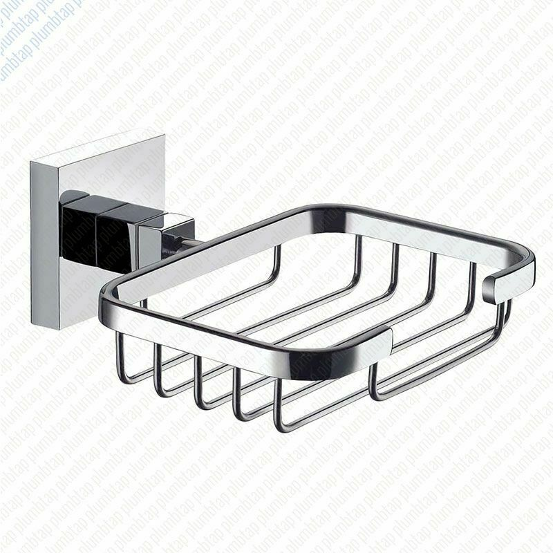 Ecospa modern bathroom soap dish basket in chrome wall mounted accessory ebay for Wall mounted soap dishes for bathrooms