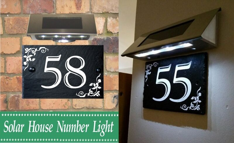 solar light for house gate sign address plaque door name number sign 1 999 ebay. Black Bedroom Furniture Sets. Home Design Ideas