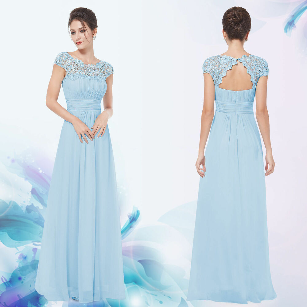 Baby blue lace long evening formal party prom dress gown for Ebay wedding dresses size 18 uk