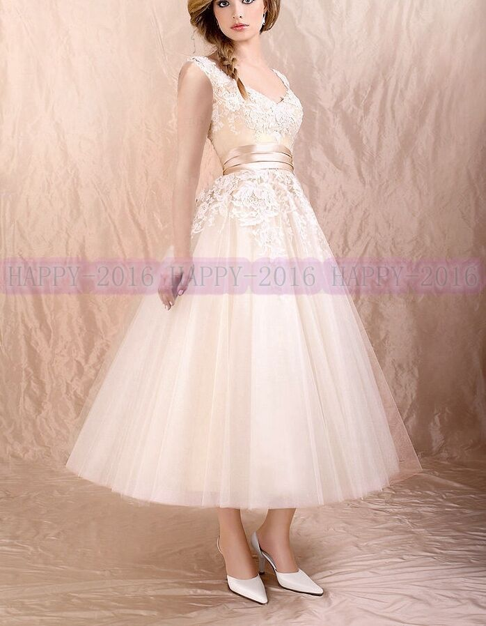 A line applique sleeveless tea length wedding dress bridal for Ebay wedding dresses size 6
