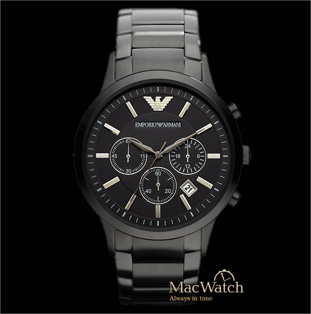 emporio armani herren uhr ar2453 schwarz edelstahl chronograph klassik neu ovp ebay. Black Bedroom Furniture Sets. Home Design Ideas