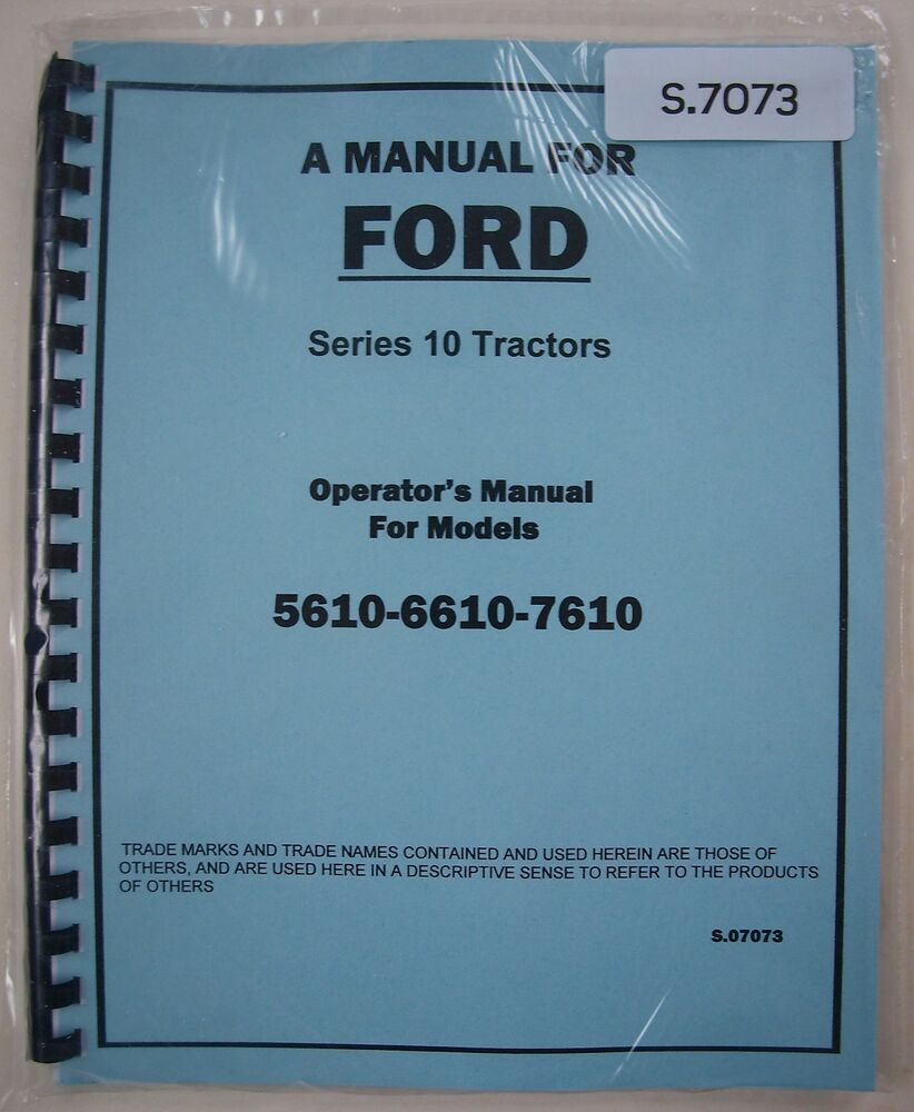 ford    tractor operators owners instruction