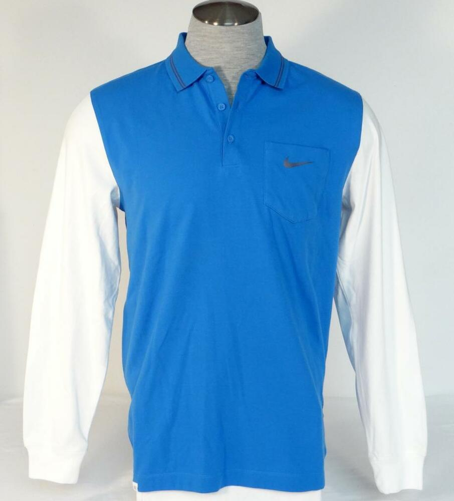 Nike golf sport dri fit blue white long sleeve slim fit for Slim fit golf shirts