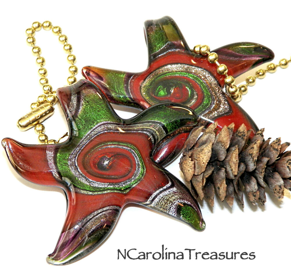 Large Glass Ceiling Fan Pulls: GLASS CEILING FAN LIGHT SWITCH PULL STARFISH RED GREEN