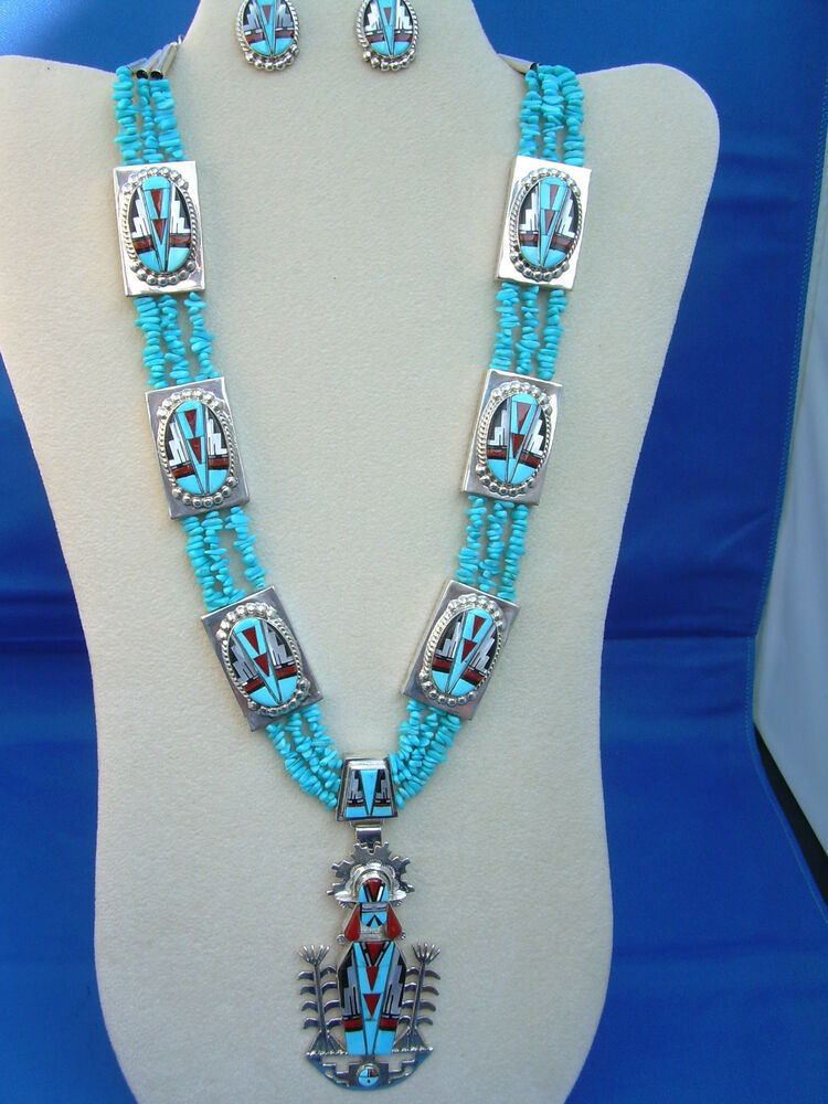 New Native American Zuni Channel Inlay Pendant And