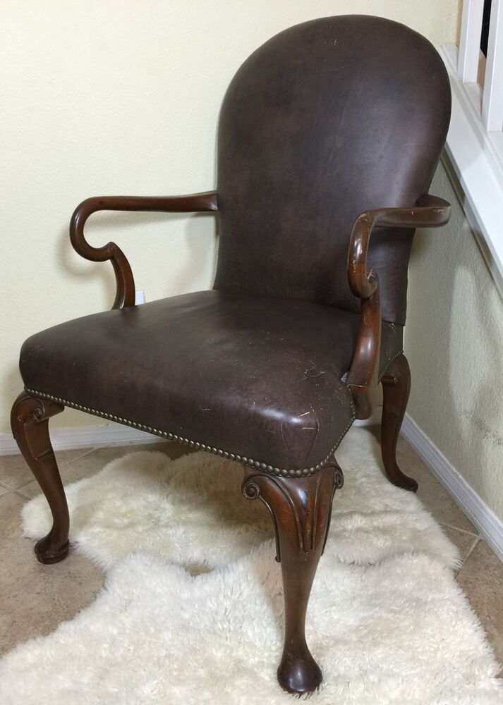 Brown arm chair with nail head trim detail needs repair ebay
