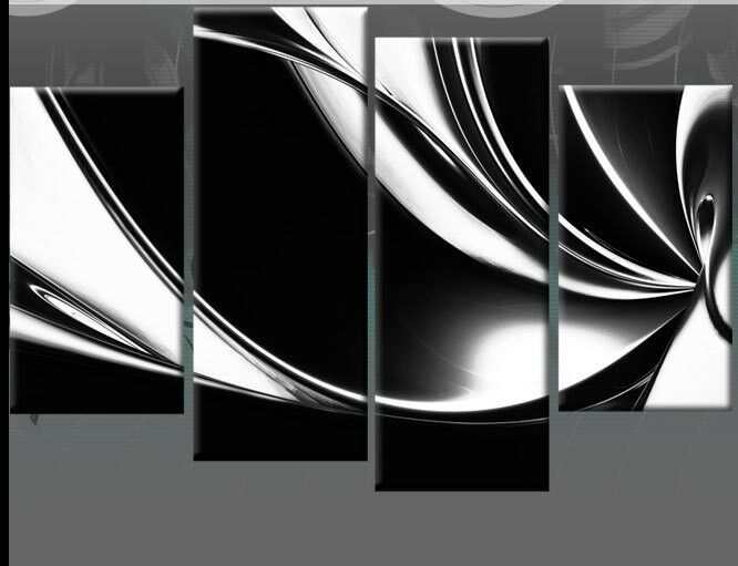 Modern abstract wall art oil painting on canvas black and Black and white canvas art