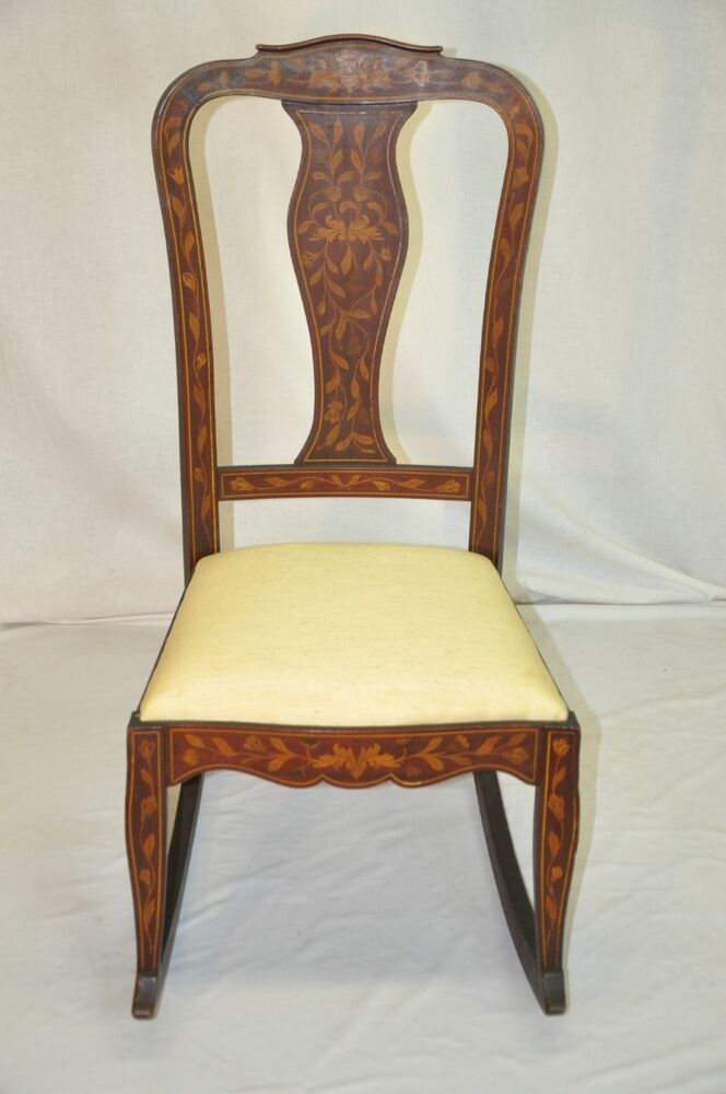 Beautiful Dutch Inlaid Marquetry Mahogany Rocking Chair