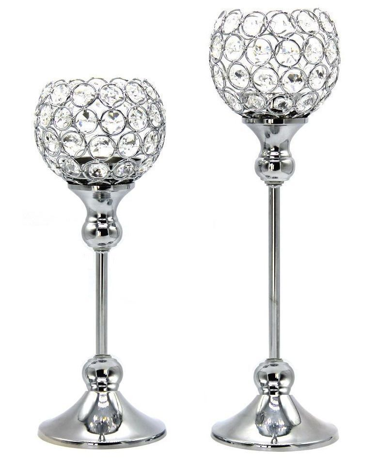 Crystal votive candle holders wedding table centrepieces