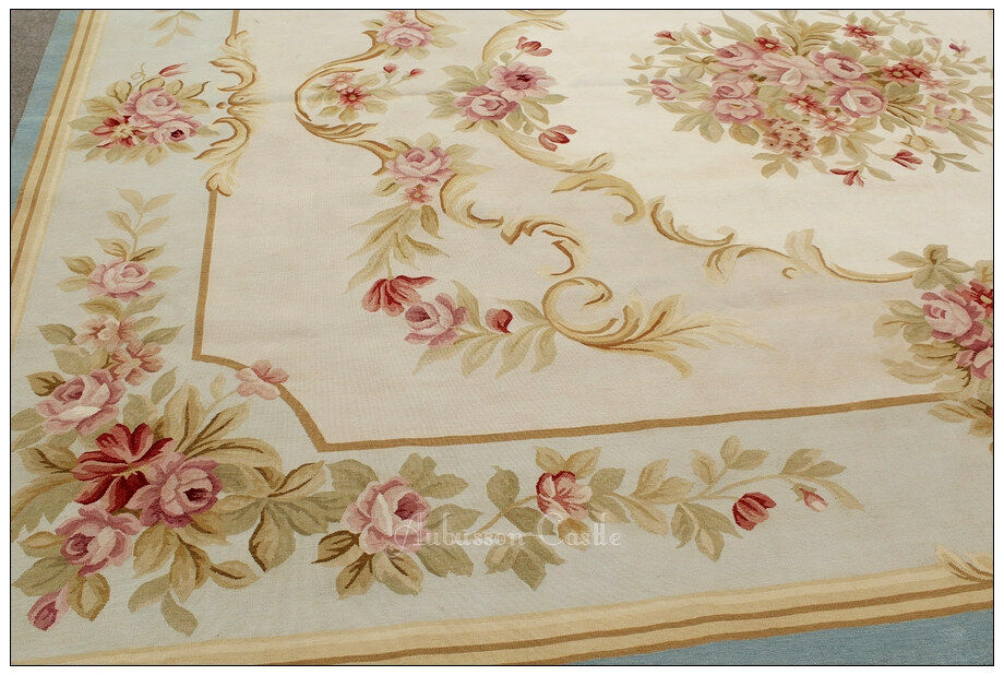 9x12 Blue Cream Ivory Aubusson Rug Shabby French Chic Home