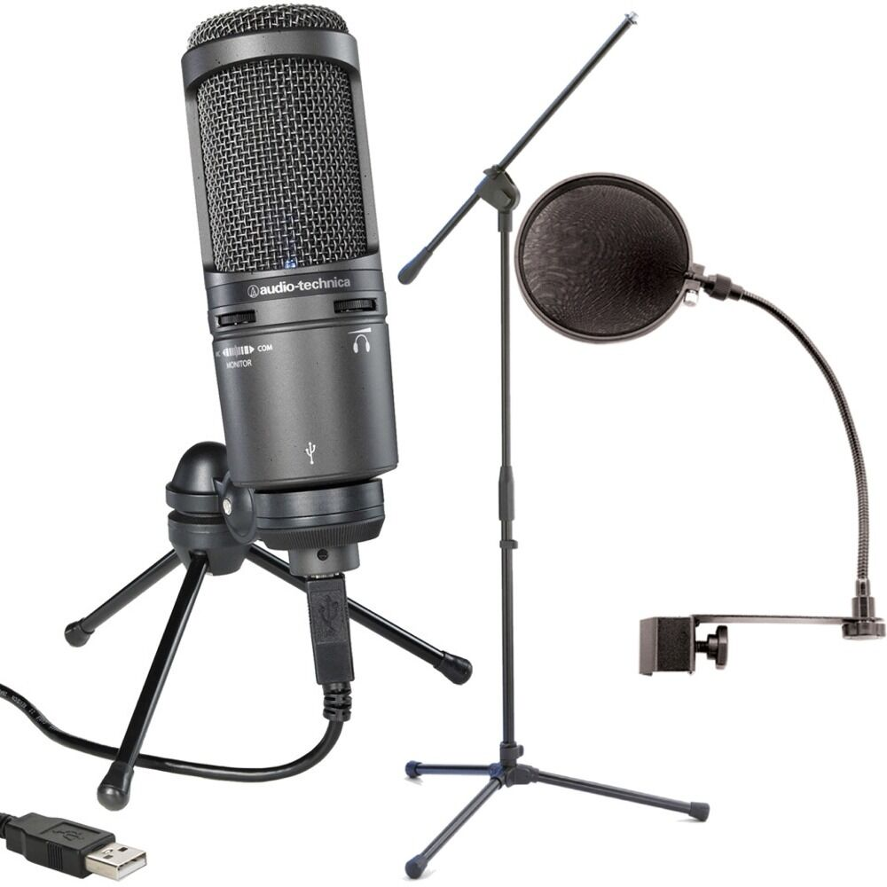 Mic Stand With Pop Filter : audio technica at2020usb plus condenser microphone w boom stand and pop filter ebay ~ Hamham.info Haus und Dekorationen