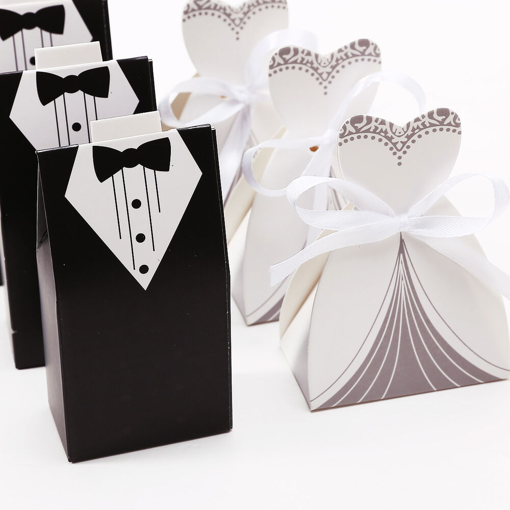 Brides Box: 200pcs Wedding Themed Gift Candy Boxes Sweets Bride Groom