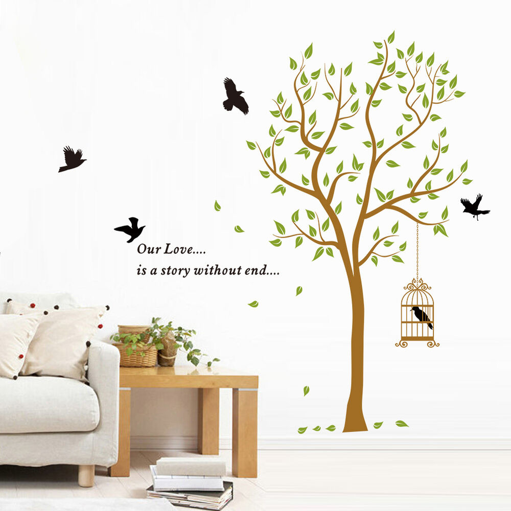 Diy Home Decoration Wall Decals : Removable birds tree living room decoration pvc wall