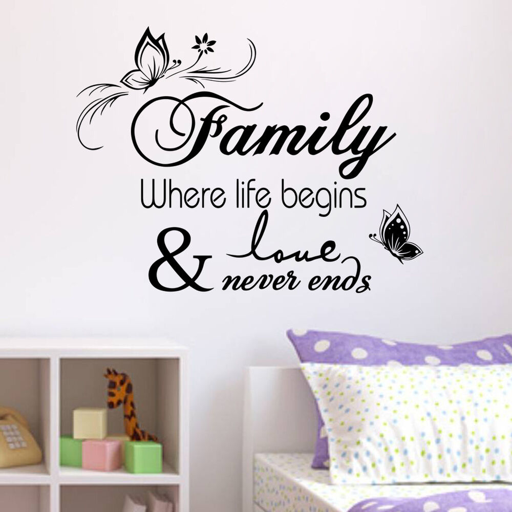 Family Wall Decor Diy : Butterfly family removable wall stickers decal quotes art