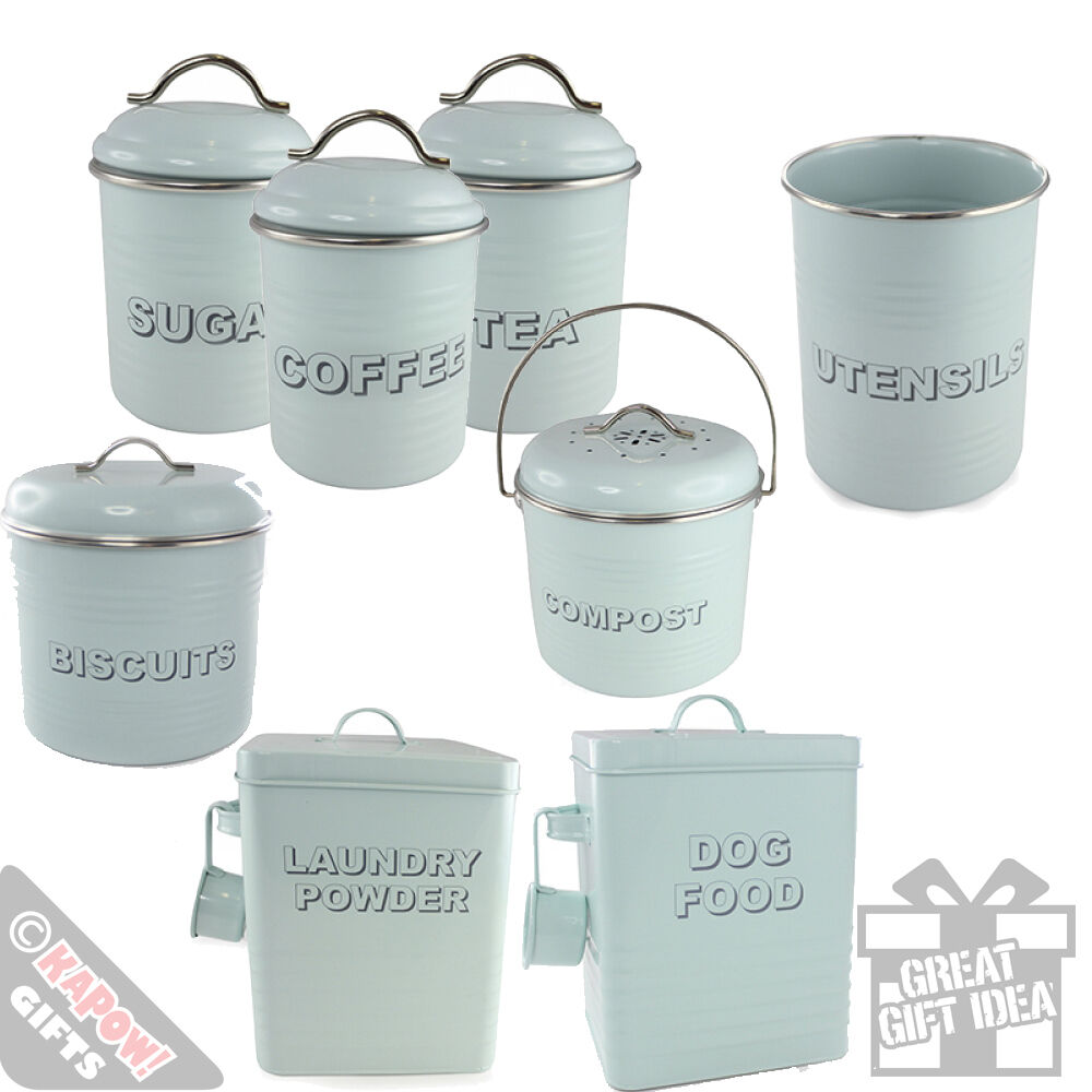 vintage style kitchen canisters kitchen storage tins country style aqua green retro cool vintage look canisters ebay 3001