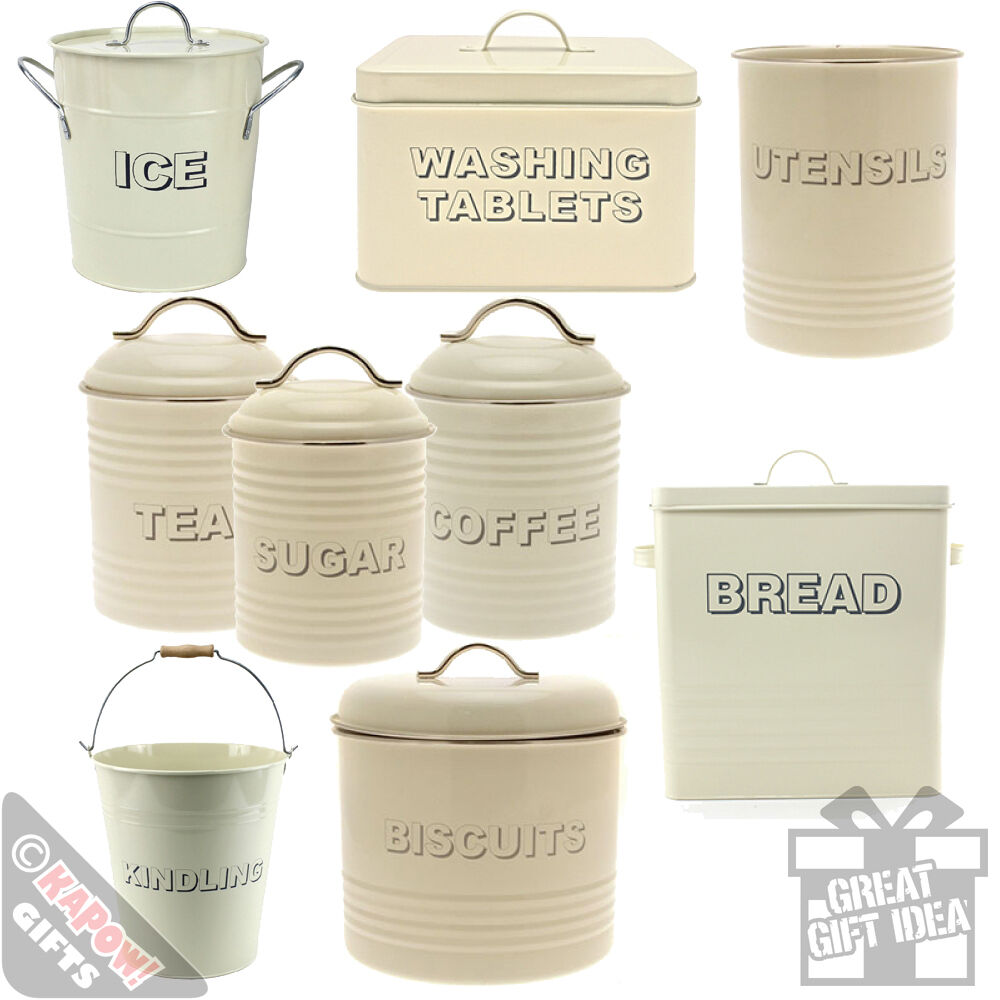 cream kitchen storage kitchen storage tins country style vintage look 3011