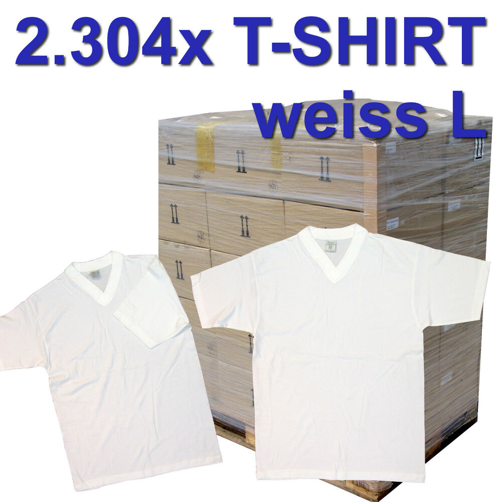 europalette 2304x t shirts wei gr e l v neck neuware sonderposten restposten ebay. Black Bedroom Furniture Sets. Home Design Ideas