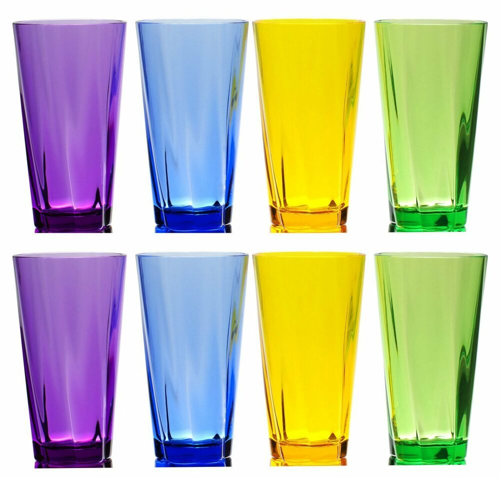 Qg 8 piece 21 oz colorful twist acrylic plastic cup for Glass or acrylic